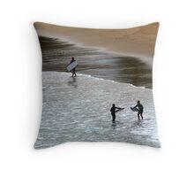 kids at the beach Throw Pillow