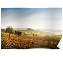 Misty sunrise in the Val D'Orcia, Tuscany Poster