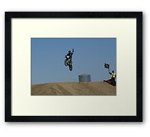 Motocross Victory celebrates his victory as he flys past the flag! USA Framed Print