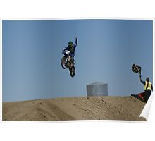 Motocross Victory celebrates his victory as he flys past the flag! USA Poster