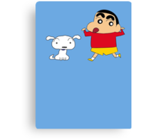 Shin-chan & Shiro Canvas Print