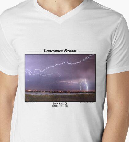 Lightning Storm Mens V-Neck T-Shirt