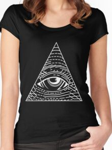 Illuminati White - All Seeing Eye - Simple Women's Fitted Scoop T-Shirt