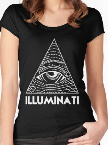 Illuminati White - All Seeing Eye - Font Women's Fitted Scoop T-Shirt