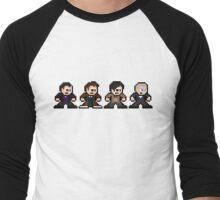 8-bit Dr. Who (9th 10th 11th & 12th Doctors) Men's Baseball ¾ T-Shirt