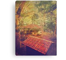 Wooden Gazebo and Small Shed in Forest Metal Print
