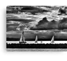 Sailboats racing in black in white Canvas Print