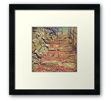 Wabisabi Rubble Masonry Bamboo Fence Fallen Leaves Framed Print