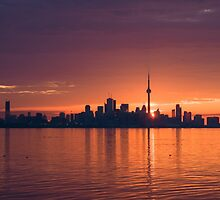 Bright and Orange Toronto Sunrise by Georgia Mizuleva