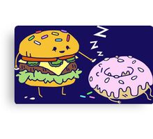 Cheeseburger Pranks Doughnut Canvas Print