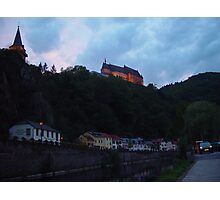 Vienden river and castle at night Photographic Print