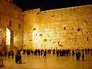 The western wall at night by Moshe Cohen