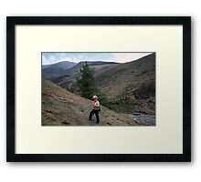 Marj about to go alone on Skiddaw Lake District England 19840524 0012 Framed Print