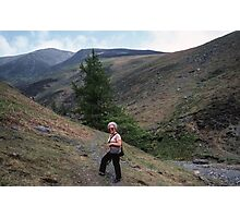 Marj about to go alone on Skiddaw Lake District England 19840524 0012 Photographic Print