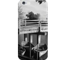 Rowing boats in Constable Country in black and white iPhone Case/Skin