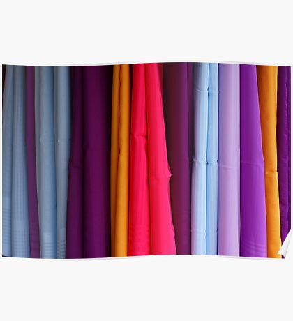colored fabrics Poster
