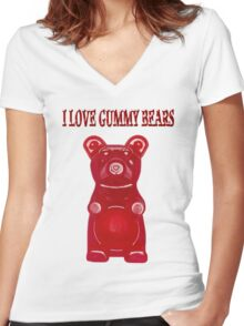 (✿◠‿◠) I LOVE GUMMY BEARS TEE SHIRT & VARIOUS-- APPAREL (✿◠‿◠) Women's Fitted V-Neck T-Shirt