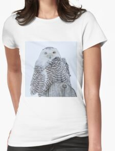 Winking Snowy Owl Womens Fitted T-Shirt