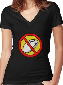 NO COMPUTER MOUSE TRAFFIC SIGN  Women's Fitted V-Neck T-Shirt