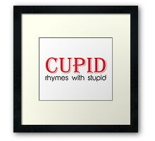 Cupid Rhymes with Stupid Framed Print