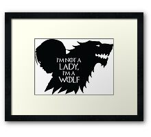 Arya Stark- Im a Wolf (Black) Framed Print
