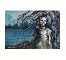 old doll with weeping willow,watercolor and ink painting, creepy doll art, goth, dark Art Print