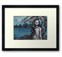 old doll with weeping willow,watercolor and ink painting, creepy doll art, goth, dark Framed Print