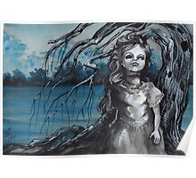 old doll with weeping willow,watercolor and ink painting, creepy doll art, goth, dark Poster