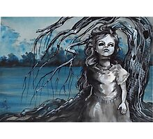 old doll with weeping willow,watercolor and ink painting, creepy doll art, goth, dark Photographic Print