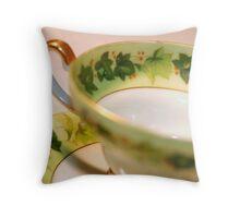 Green Ivy Tea Cup Throw Pillow
