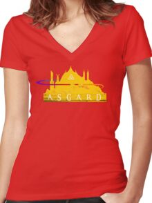 Asgard (The Cities of Comics) Women's Fitted V-Neck T-Shirt