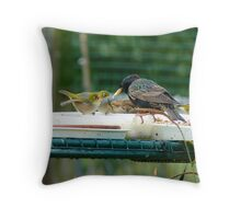 Are You My Wet-Nurse? - Silver-Eye/Starling - NZ Throw Pillow