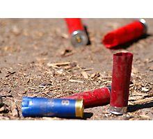 Blue and Red Shotgun Shells Photographic Print