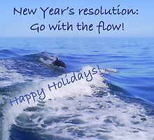 Go with the flow holiday card - dolphin by Gosha Davis