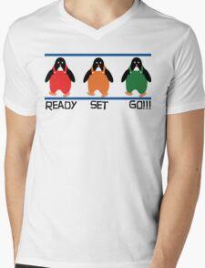 penguin races Mens V-Neck T-Shirt