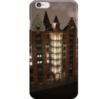 Hamburg Harbour City by night iPhone Case/Skin