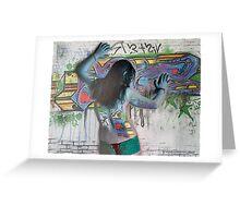 Graffiti Nude in Blue Greeting Card