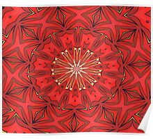 Red Bold Kaleidoscope Pattern Poster