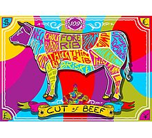 English Cut of Beef in Happy Rainbow Photographic Print