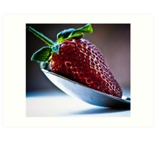 Silver spoon strawberry Art Print