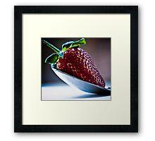 Silver spoon strawberry Framed Print