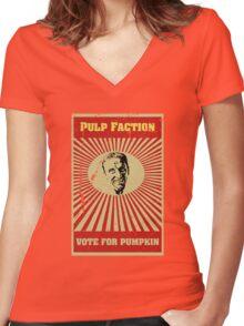 Pulp Faction - Pumpkin Women's Fitted V-Neck T-Shirt