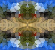 Abstract Mosaic in Blue Brown Green Red by Beverly Claire Kaiya