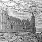 My pencil drawing of Whitby Abbey, Yorkshire by Dennis Melling