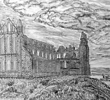 My pencil drawing of Whitby Abbey, Yorkshire - all products by Dennis Melling