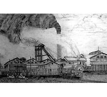 My pencil drawing of Frickley Colliery, Yorkshire 1920 Photographic Print