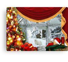 Snowdrop the Maltese & Santa's Elf Canvas Print