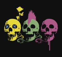 Punk Colourful Skulls with a Flower by Jack Daly