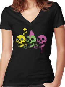 Punk Colourful Skulls with a Flower Women's Fitted V-Neck T-Shirt