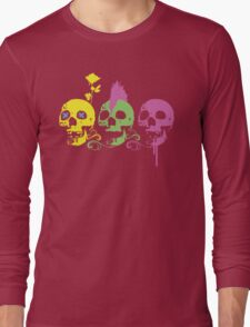 Punk Colourful Skulls with a Flower Long Sleeve T-Shirt